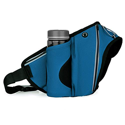 Qyeeypoc Sports de Plein air Running Kettle Waist Bag, Waterproof Marathon Travel Travel Equipment Mountaineering Bag, Cycling Water Cup Bag (Water-Free Cup) Blue
