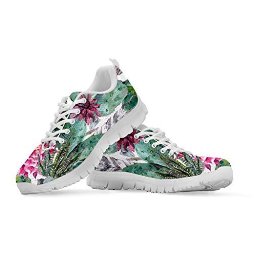 HUGS IDEA - Zapatillas de running para mujer, diseño de cactus con estampado floral