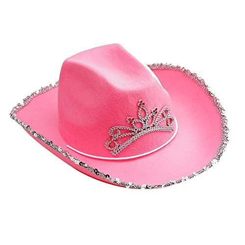 XCSM Sombrero de Vaquero de Fieltro de Lentejuelas Rosa con Tiara para Hombres, Mujeres, niñas, niños, Vestido Elegante, Accesorios para Disfraces de Fiesta
