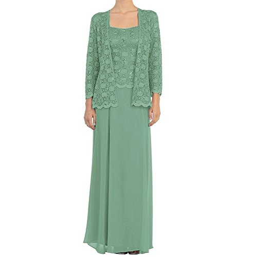 H.S.D Mother of The Bride Dress Chiffon Formal Gowns with Jacket Pastel Green