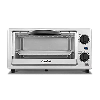 Comfee' Toaster Oven Countertop, 4-Slice, Compact Size, Easy to Control with Timer-Bake-Broil-Toast Setting, 1000W, Stainless Steel, CFO-BC10(SS)