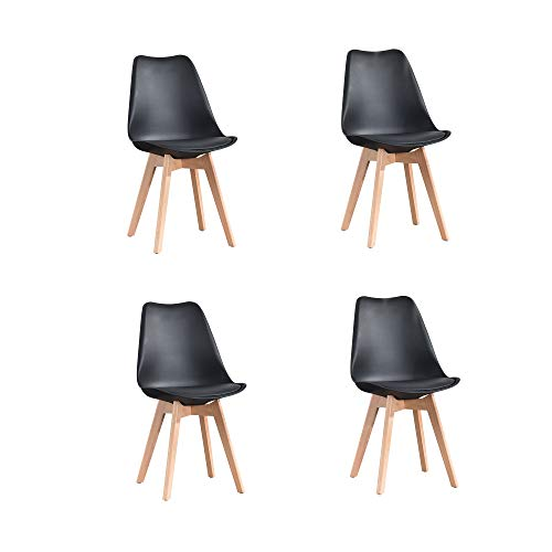 ArtDesign FR Tulip sillas de Comedor Moderno, Juego de 4, Asiento Acolchado Suave