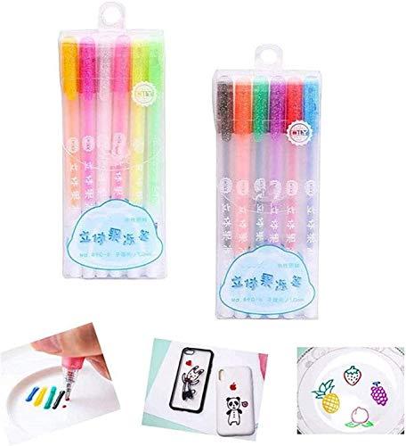 12pcs 3D Glossy Jelly Ink Pen Aufhellen Handschrift Trockene Oberflächen Kinder , Sparkled Assorted 12 Farben Gelstifte DIY Fluorescent Painting Pen Glitter Pen