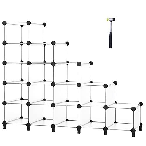 ANWBROAD 15-cubo Zapatero Escalonado Ahorra Espacio Organizador de almacenamiento de Zapatos Armario Modular Plástico Dormitorio Pasillo Entrada 115,5 × 36,6 × 93,3cm Blanco LCS16TX
