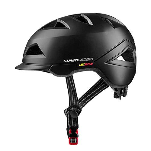SUNRIMOON Bike Helmet Lightweight Cycling Bicycle Adult Helmet Urban Commuter Helmet with USB Recharge Light Adjustable Size for Men Women 22.44-24.41 Inches(Black)