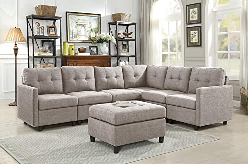 Sectional Sofa Ottoman Set 6 Seater Modular Corner Sectional Couches Living Room Furniture Sets Reversible L Shape Couch Set, Light Gray