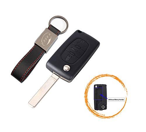 Schlüssel Gehäuse Fernbedienung für Peugeot 3 Tasten Autoschlüssel Funkschlüssel 107 207 307 407 308 409 407 607 (no Battery Place) mit Leder Schlüsselanhänger KASER