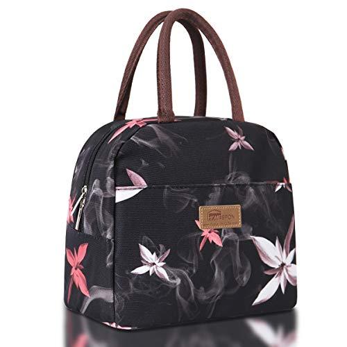 HOMESPON Lunch Bag Isolierte Reisetasche Süße Canvas Stoff mit Aluminiumfolie, Stoffdruck Lunch Handtasche Faltbar für Frauen, Männer, Schule, Büro (rosa Blumen)