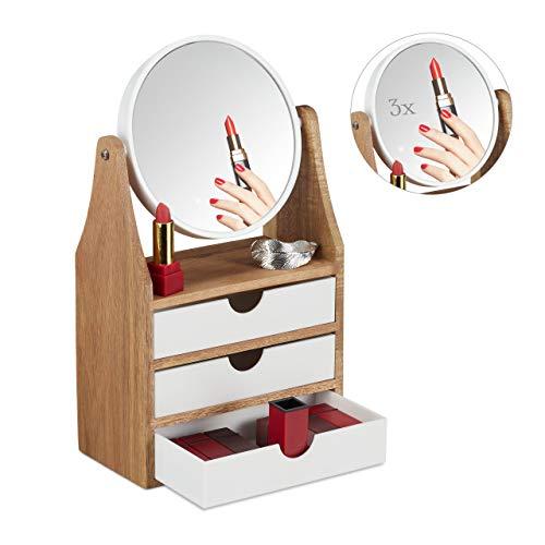 Relaxdays Schminkaufsatz, 3 Schubladen, für Frisier-& Schminktisch, Vergrößerungsspiegel, HBT 34x19x10,5 cm, natur/weiß, 1 Stück