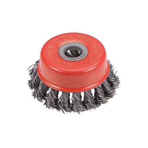 Acero prensado anudado torcido del cepillo de la taza de alambre de 3 pulgadas con el agujero del eje de 15 mm