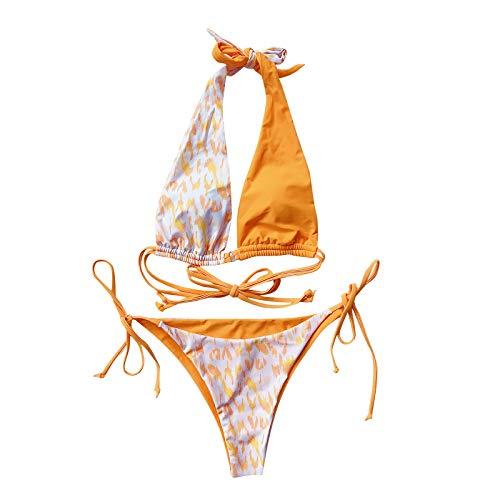 jieGorge Swimsuit Tummy Control, Women Leopard Print Bandage Bikini Swimwear Beachwear Swimsuit, Bathing Suit...