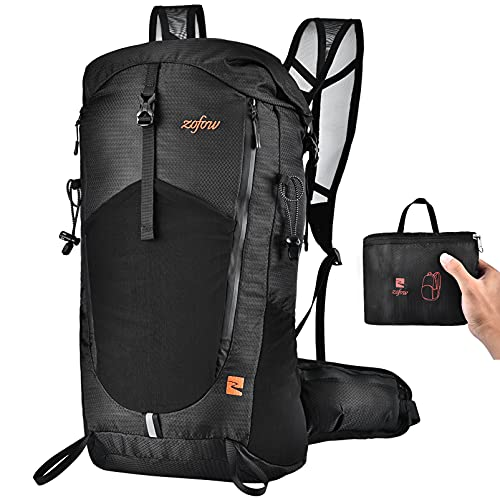 ZOFOW Hiking Packable Travel Backpack Lightweight 40L Large Capacity Durable Outdoor Gear Daypack Foldable Bag Pack for Camping Cycling Traveling Climbing for Women Men Black