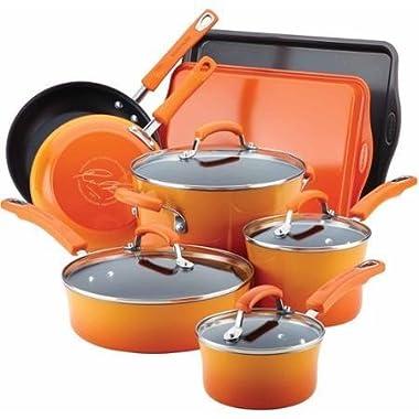 Rachael Ray Hard Enamel Nonstick 12-Piece Cookware Set (Orange)