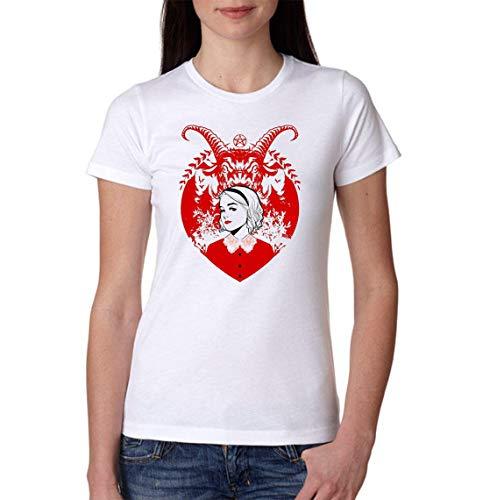 Ideastore T-Shirt Sabrina Terrificanti Avventure Strega Witch Salem - Film,Serie TV,Fumetti,Maglia Donna Sabrina,Prodotto 100% Italiano (M, E Bianca)