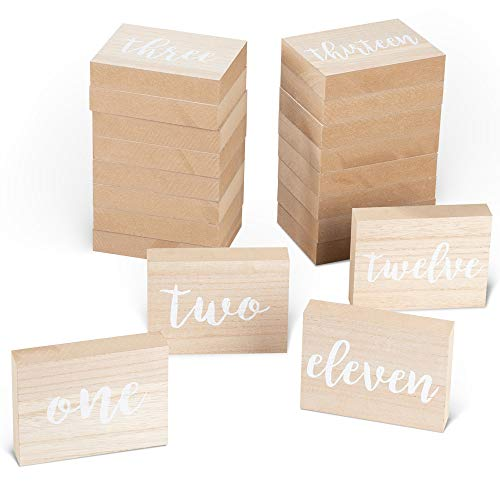 Juvale Wooden Table Numbers - 1 to 20 Rustic Calligraphy Table Numbers, for Wedding Table, Reception, Catering, Annual Dinner, Party Centerpiece Decoration, 5 x 3.75 x 1 Inches