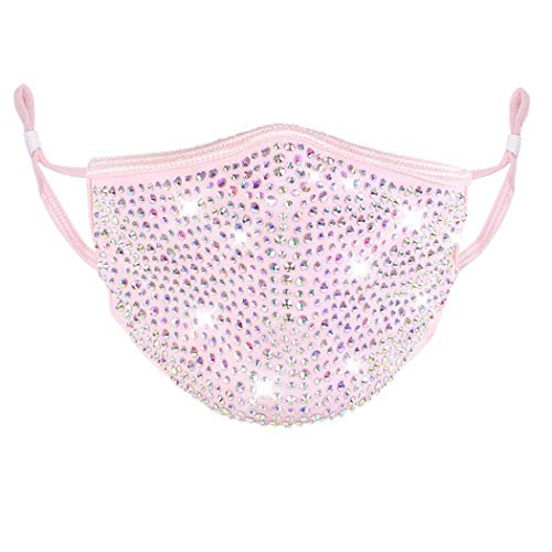 Barode Sparkly Rhinestones Mask Masquerade 3D Crystal Halloween Masks with Adjustable Ear Loops Party Face Decoration Jewelry for Women and Girls (Pink)