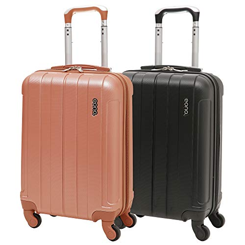 EONO Essentials Lightweight 21' ABS Hard Shell Travel Trolley Carry On Hand Cabin Suitcase with 4 Wheels (Black + Rose Gold ABS)