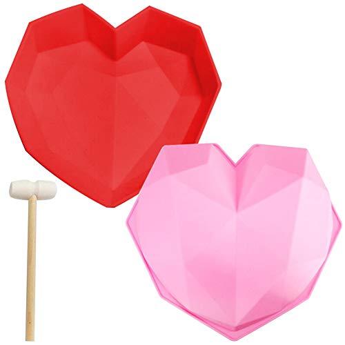 Molde 3D Con Forma De Corazón LLMZ 2 Pcs Heart Chocolate Molde Geométrico De Corazón Molde Utilizado En La Cocina Casera Herramientas