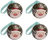 Paquete de 4 latas de metal navideñas para galletas, tarro, contenedores de almacenamiento de dulces, galletas, lata para regalos de Navidad, año nuevo, fiesta - Papá Noel