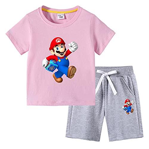 Aatensou Super Mario Kids pantaloncini a maniche corte da bambina, 2 pezzi, in cotone, tuta estiva (A9,160)