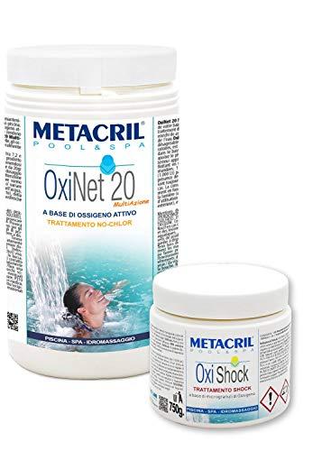 KIT OXI Net 20 MULTIAZIONE + OXISHOCK 750gr - Ossigeno Attivo in pastiglie da 20gr - 1 kg. Ideale per Piscina o Idromassaggio - SENZA CLORO (Jacuzzi,Dimhora,Intex,Bestway,ecc.) Spedizione IMMEDIATA