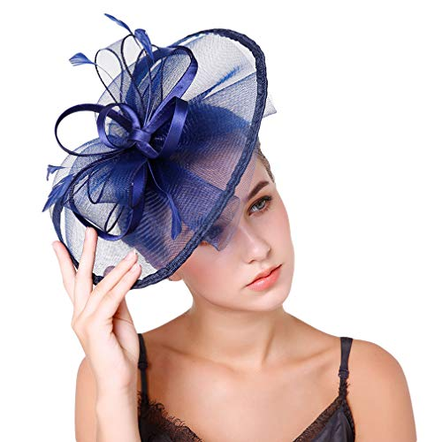 YiyiLai Chapeau Bibi Femme Voile Tulle Coiffure à Fleurs Bleu Foncé