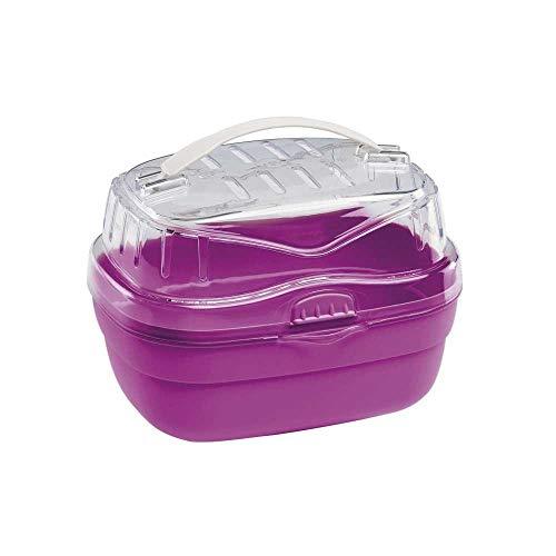 Ferplast Transportbox für Hamster und andere kleine Nagetiere Aladino Small Reisekäfig für Hamster, widerstandsfähiger Kunststoff, komfortabler Griff, sicherer Verschluss, 20 x 16 x 13,5 cm, fuchsia