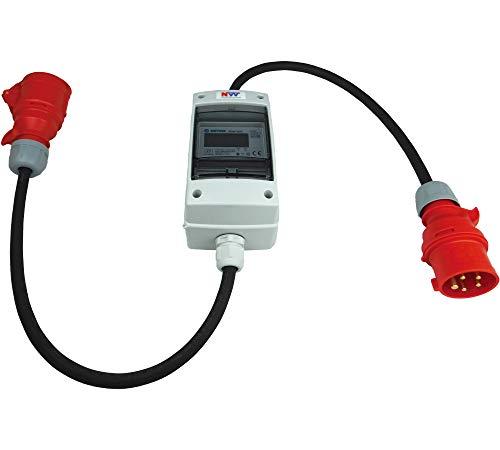 NW Powersolutions NW10109 16A 400V CEE mobiler digitaler Stromzähler geeicht (mit Reset) IP44 3-phasig Adapter