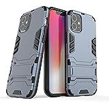 HHF - Accesorios para iPhone XR X XS Max, doble capa Armor 2 en 1 + Kinckstand PC duro cubierta para iPhone XS XR (color azul marino, material: para iPhone XS)