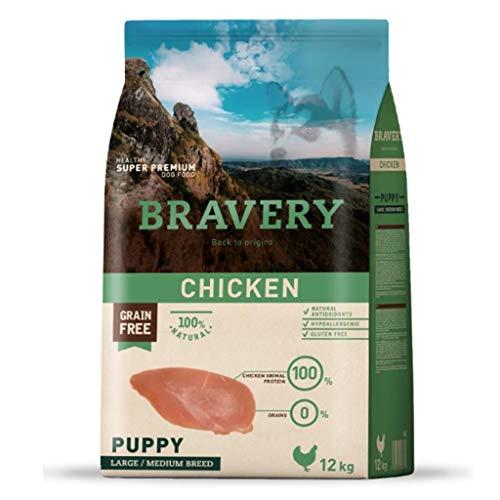 BRAVERY - Crocchette Puppy Pollo per cane, 12 kg, taglia L/M