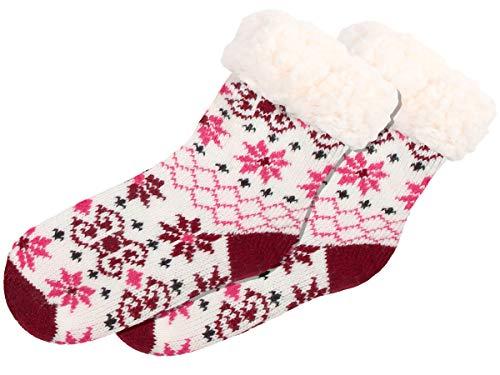 Trend-world Chaussettes antidérapante pour Enfant Taille Unique 30-35 Super Douce idée Cadeau de Noel idéale pour la Maison et au lit Contre Les Pieds froids Double Couche, SO-W-107-6 weiß Rot Pink
