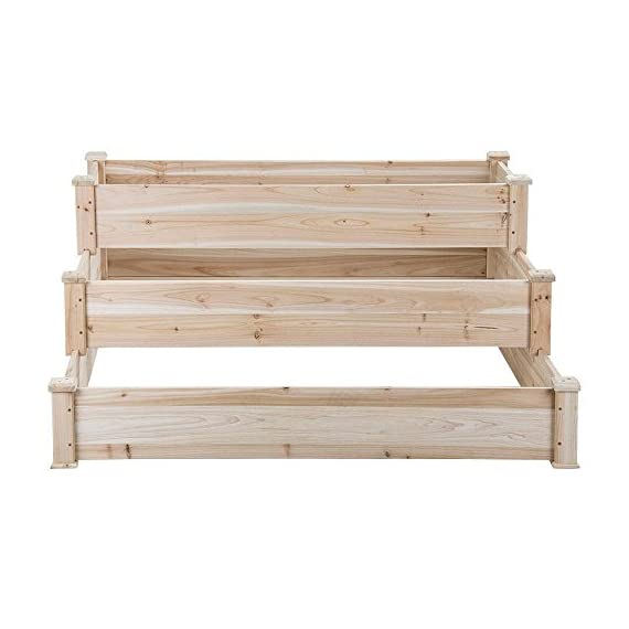 YAHEETECH 3 Tier Wooden Raised Garden Bed Elevated Planter Box Kit Outdoor Solid Wood 49''x49''x21.9'' 6 Selected material – Our raised garden bed is made of no paint, non-toxic 100% fir wood, which is known for its strength and dimensional stability as well as its natural resistance to rot and pests. The 1.5cm/ 0.6'' thick solid wood boards are only sanded to prevent any undesired injury caused by wood splinters. Useful & Practical – With this helpful planter, you can cultivate plants like vegetable, flowers, herbs in your patio, yard, garden and greenhouse, and make them more convenient to manage. Customizable design – This elevated planter provides 3 growing areas for different plants or planting methods. Each tier is connected with wood plugs, which allows this 3-tier garden bed to be easily transformed into 3 separate growing beds in different sizes if needed.
