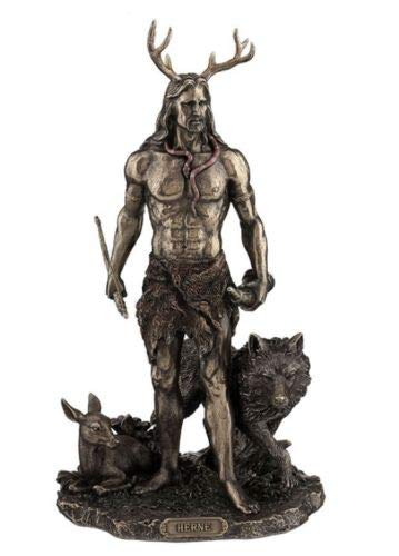 11.75' Herne The Hunter With Deer & Wolf Figurine Figure Statue Celtic