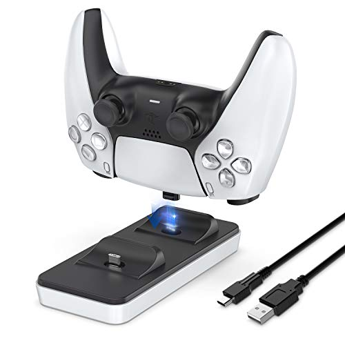innoAura Portable Charging Station for PS5 Controller, Dual PS5 Controller Charger with 2 Removable Type C Charging Port, White
