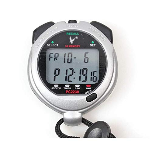 Operación precisa de una tecla, pantalla grande cl Professional Digital Sportwatch Temporizador 2 líneas 30 Memory Cuenta regresiva Alarma para entrenadores deportivos, entrenadores de fitness y árbit