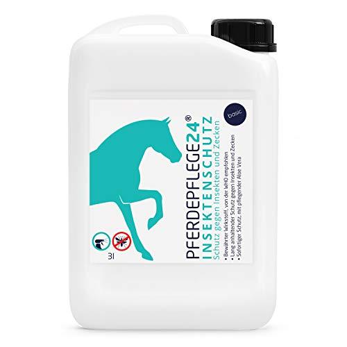 PFERDEPFLEGE24 Insektenschutz für Sofortigen Schutz mit pflegender Aloe Vera - Langanhaltende Wirkung gegen Bremsen, Mücken, Fliegen & Zecken - Pferdezubehör & Pferdepflege 3l Kanister