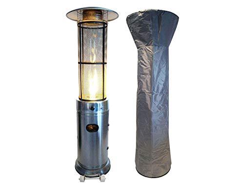 Traedgard Gas Heizstrahler California Edelstahl   180 cm   Heizpilz mit 9,5 kW   Stufenlose Regulierung   inkl. Schutzhülle Gasschlauch und Druckminderer