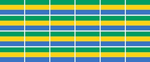 Mini Aufkleber Set - Pack glatt - 33x20mm - Sticker - Fahne - Gabun - Flagge-Banner-Standarte fürs Auto, Büro, zu Hause & die Schule - 24 Stück
