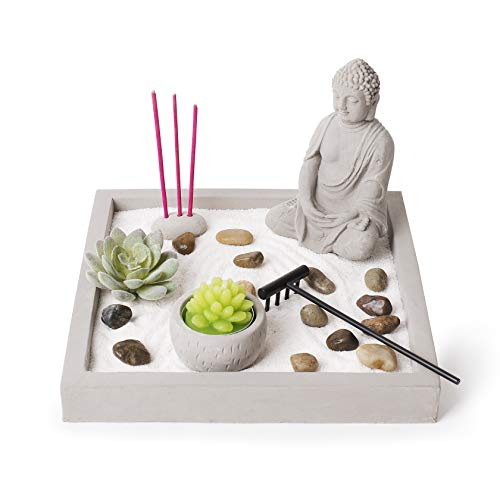 Cement Zen Garden – All-in-One Miniature Rustic Garden – Artificial Sculpture Made from Resin and Concrete – Mini Set with Rocks, Sand, Candle and Incense Holder – Brilliant Home or Office Decoration