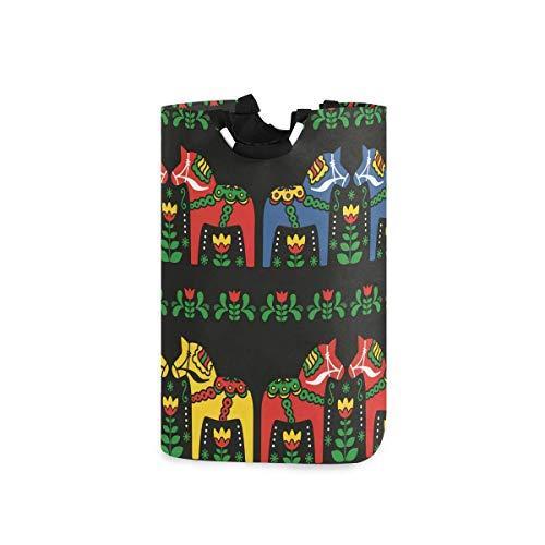 N\A Wäschekorb Faltbarer Eimer kollabiert Wäschekorb Künstlerischer Pferdewaschbehälter für Heimorganisator Kinderzimmer Aufbewahrung Babykorb Kinderzimmer