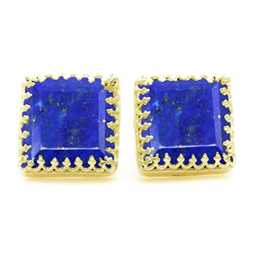 JewelryGift chapado en oro amarillo square-shape Blue Lapislázuli