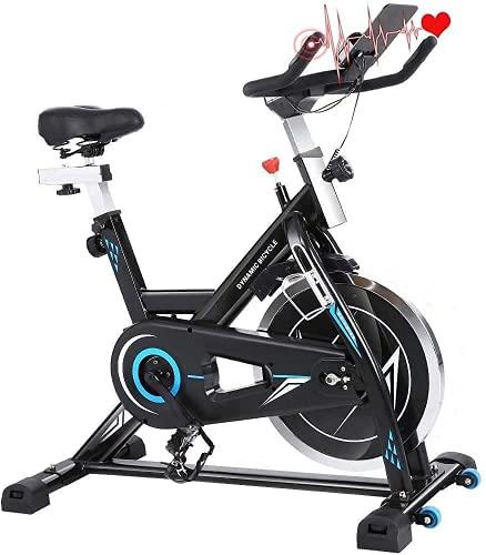 Profun Cyclette Fitness Professionale, Volano da 22 kg, App di Connessione, Display LCD, Resistenza Regolabile / Sella / Manubrio, Usato per la Casa,Nero
