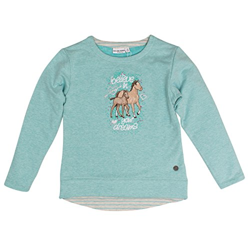 SALT AND PEPPER Salt & Pepper Mädchen Sweat Horses I Uni Strass Sweatshirt, Grün (Spearmint Melange 659), 104