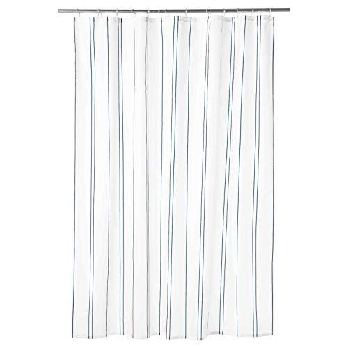 OTTSJON Cortina de ducha con rayas verticales azul/blanco 180 x 180 cm *Marca IKEA*