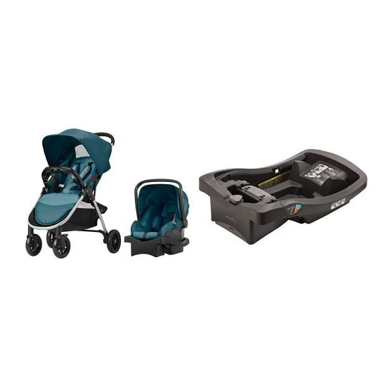Evenflo Folio Travel System, Meridian with LiteMax Infant Car Seat Base, Black