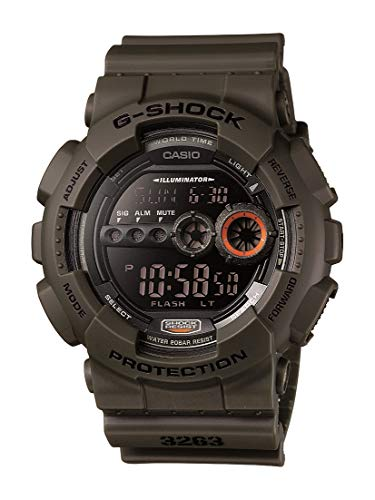 Casio Men's XL Series G-Shock Quartz 200M WR Shock Resistant Resin Color: Olive Green(Model GD-100MS-3)