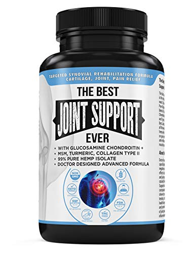 The Best Joint Support Ever Advanced Anti Inflammatory Glucosamine Chondroitin Turmeric MSM Boswellia Type II Collagen Bioperine + 750mg of Pure Organic Hemp Extract Back Neck Pain Relief