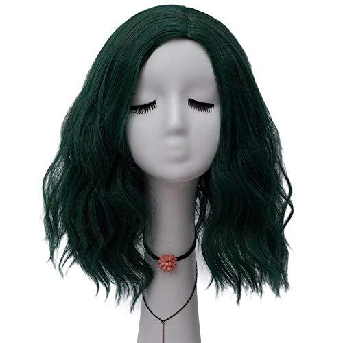 NiceLisa Lady 40 cm Súper Lindo Ola suelta verde Fiesta de Halloween Fiesta diaria Cosplay Pelucas Parte lateral