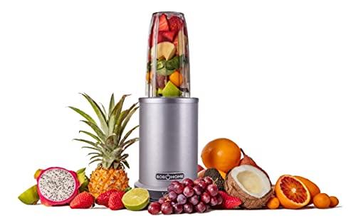 BOB HOME Nutrition Mixer SMART BLENDER | 1000 Watt | Gehäuse aus gebürstetem Aluminium | 6-fach Edelstahlklinge | 350+700 ml Behälter (BPA FREE)