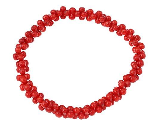 Bracciale in corallo, corallo naturale, rosso, 2x6mm